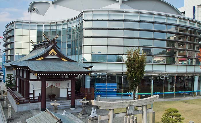 shrine and modern building in Onomichi Japan
