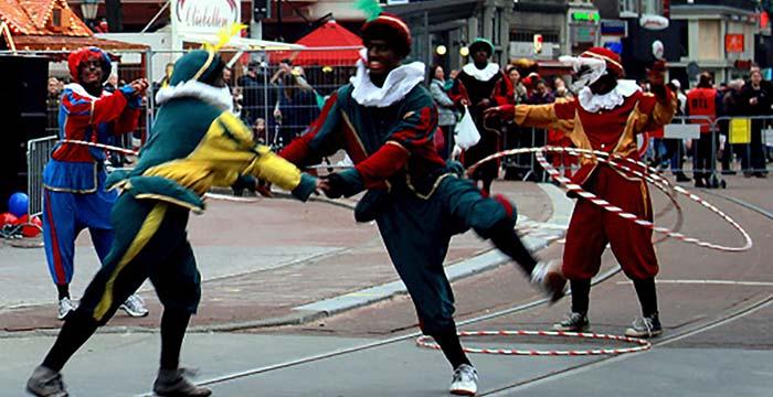 Hula Hoop Piets on streets of Amsterdam