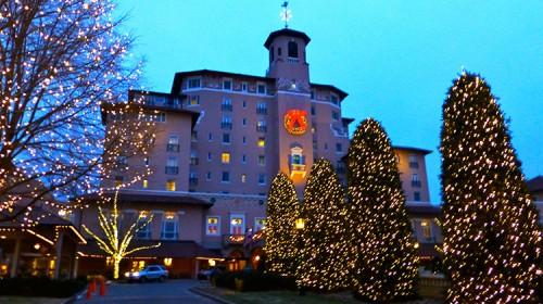 The Broadmoor Colorado Hotel at dusk