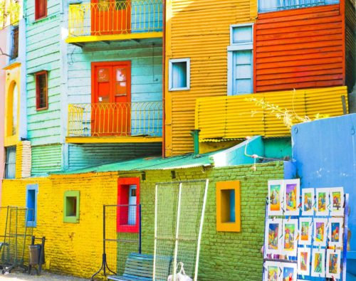 Colorful corregated houses in La Boca barrio