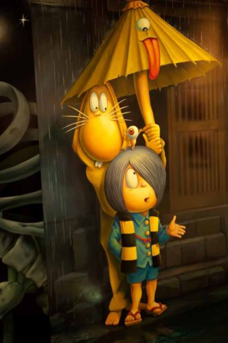 Kitaro and friends under the magic umbrella at the Shigeru-Mizuki museum