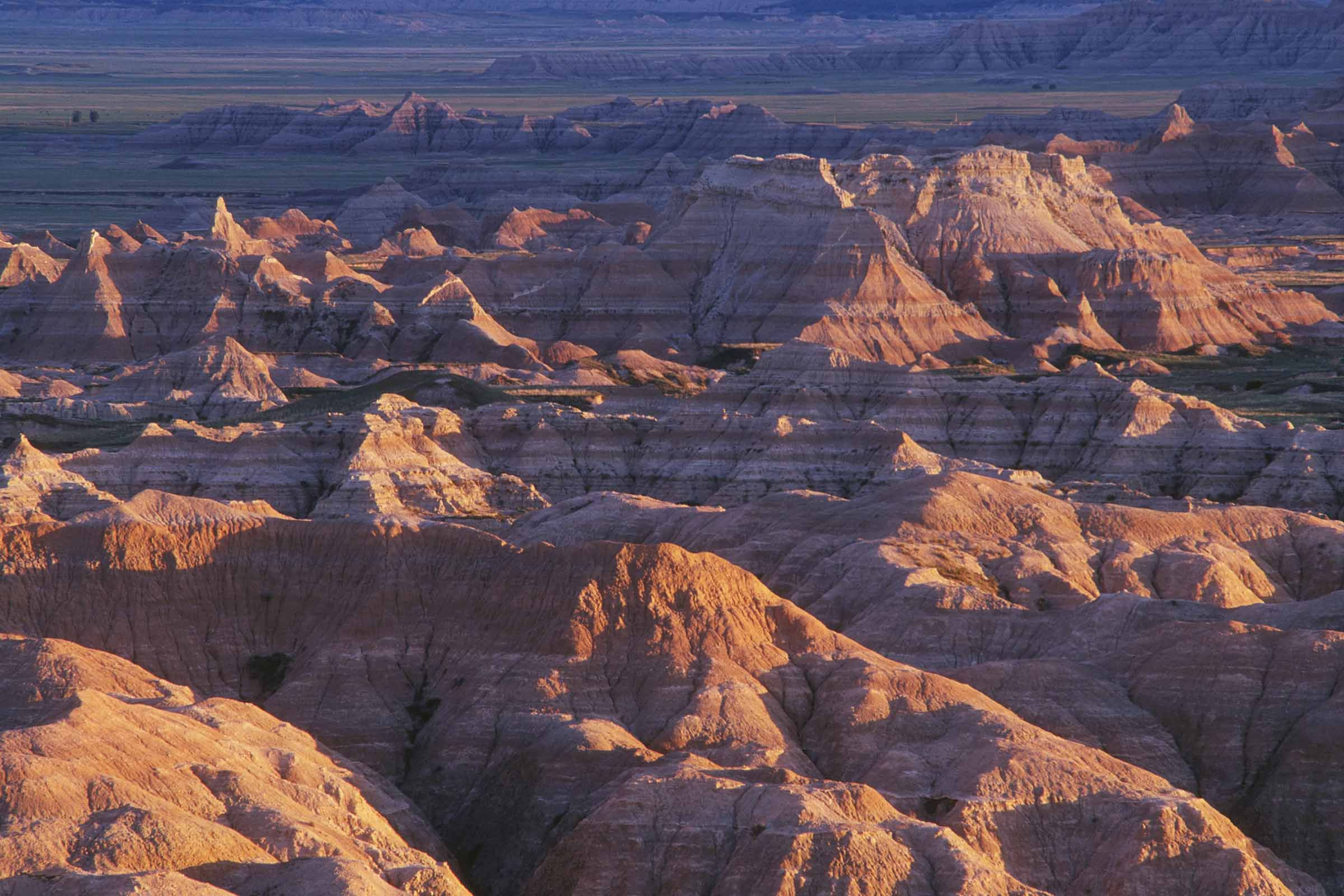 Badlands at sunset from Sage Creek Basin Overlook; Badlands National Park, South Dakota.