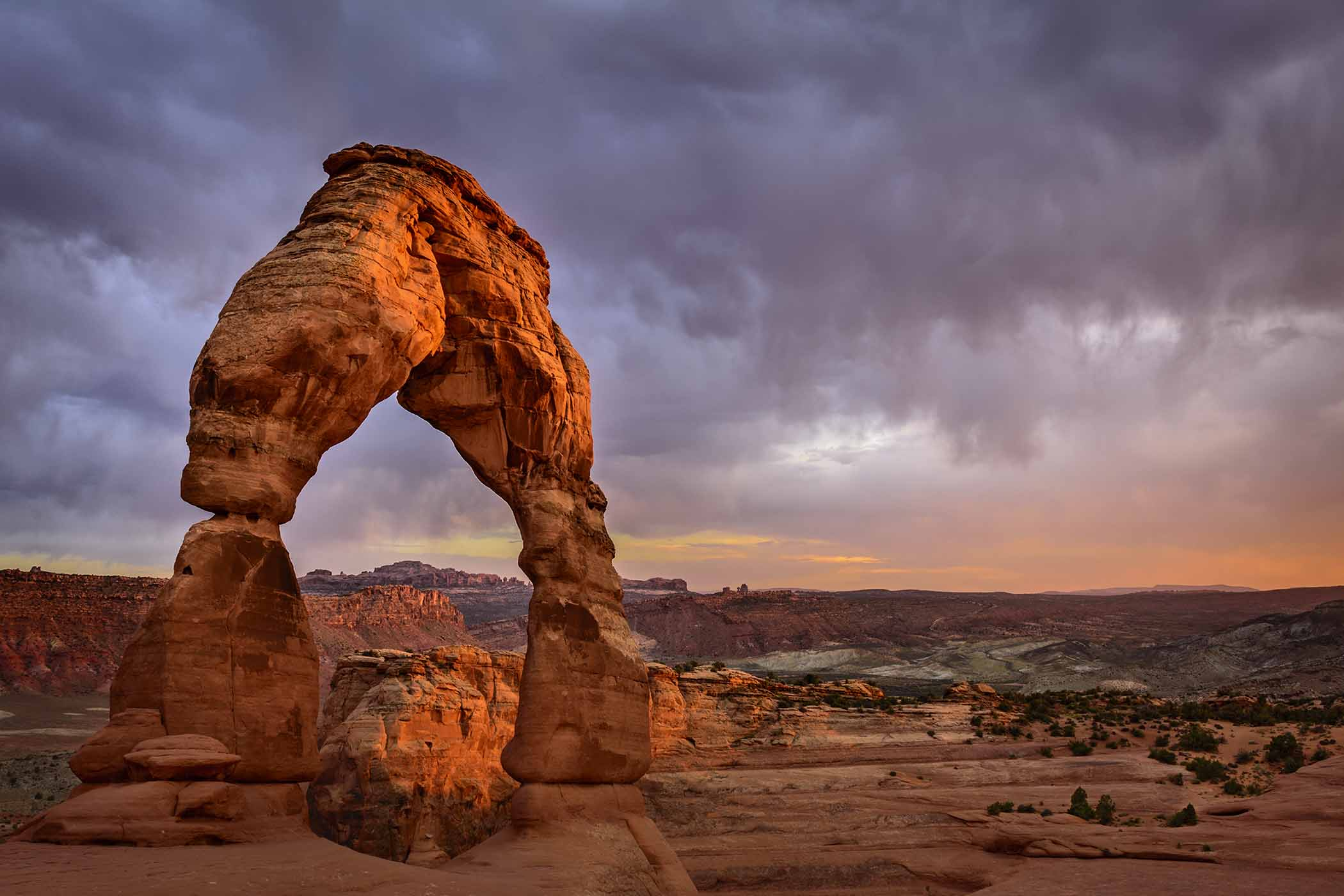Last light on Delicate Arch; Arches National Park, Utah.