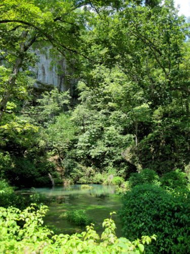 River and greenery in front of limestone cliffs